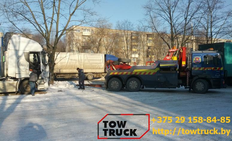 эвакуация тягача с блокированными калесами
